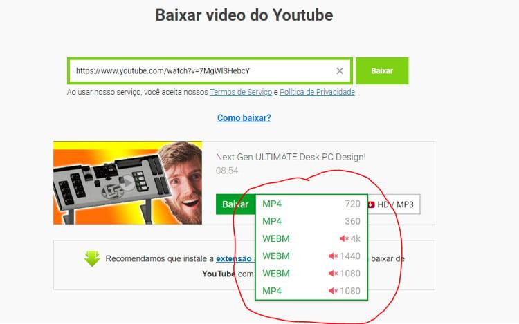 baixar vídeo do youtube